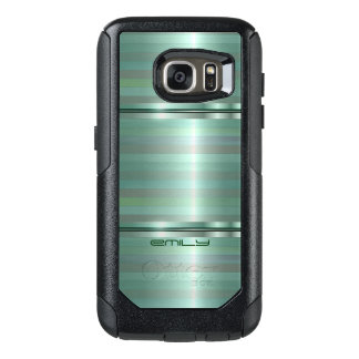 Simple Shades Of Green Stripes OtterBox Samsung Galaxy S7 Case