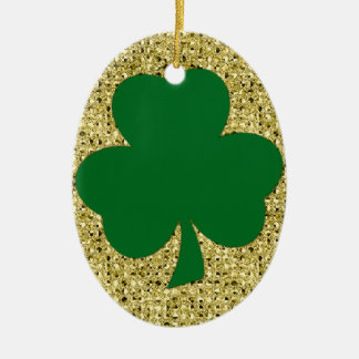 Simple Shamrock Ceramic Ornament with Gold