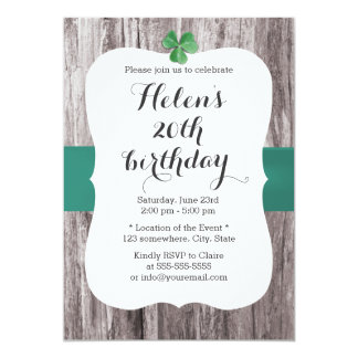 Simple Shamrock Teal Ribbon Wood Birthday Party 13 Cm X 18 Cm Invitation Card