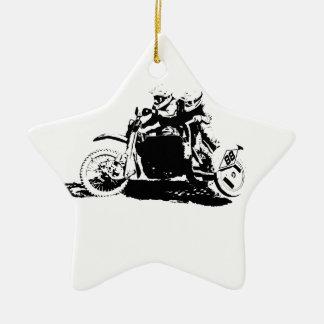 Simple Sidecarcross Design Ceramic Star Decoration