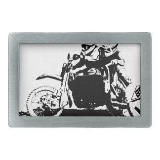 Simple Sidecarcross Design Rectangular Belt Buckle