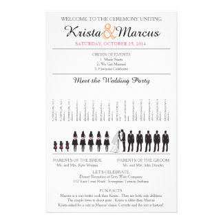Simple Silhouettes Wedding Program Flyer-2 14 Cm X 21.5 Cm Flyer