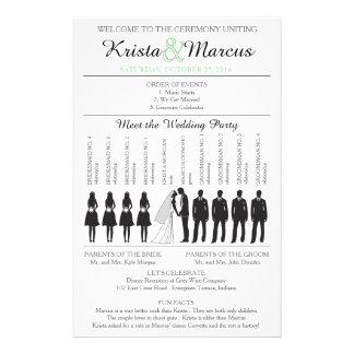 Simple Silhouettes Wedding Program Flyer-2B 14 Cm X 21.5 Cm Flyer