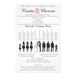 Simple Silhouettes Wedding Program Flyer-3RF 14 Cm X 21.5 Cm Flyer