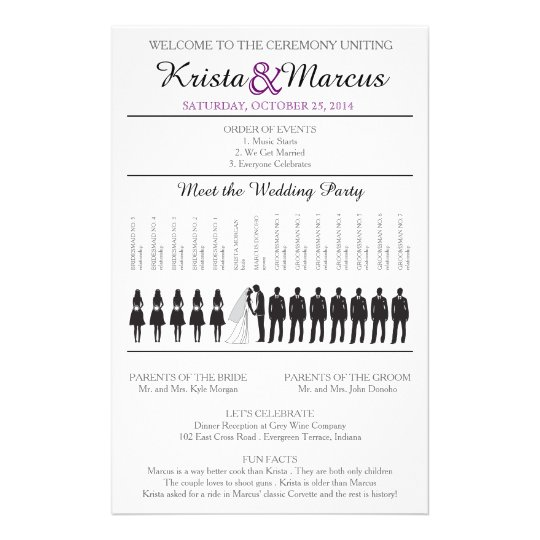 Simple Silhouettes Wedding Program Flyer-6 Flyer