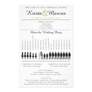 Simple Silhouettes Wedding Program Flyer-8 14 Cm X 21.5 Cm Flyer