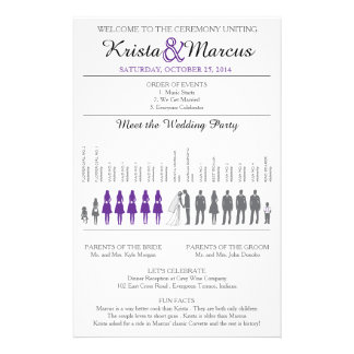 Simple Silhouettes Wedding Program Flyer-Violet