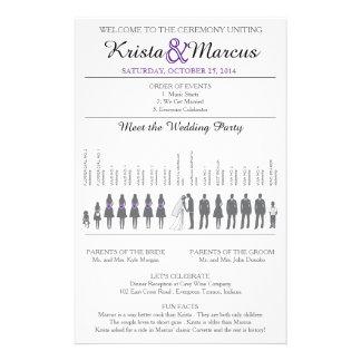 Simple Silhouettes Wedding Program Flyer-Violet 14 Cm X 21.5 Cm Flyer