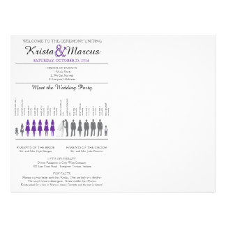 Simple Silhouettes Wedding Program Flyer-Violet 21.5 Cm X 28 Cm Flyer