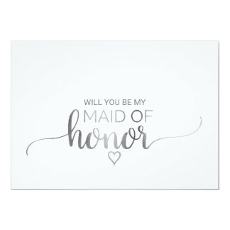 Simple Silver Calligraphy Maid Of Honor Proposal Card