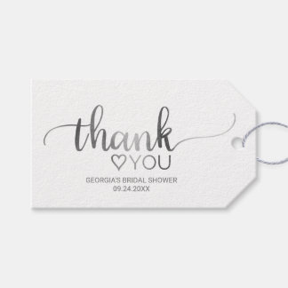 Simple Silver Calligraphy Thank You Bridal Shower Gift Tags
