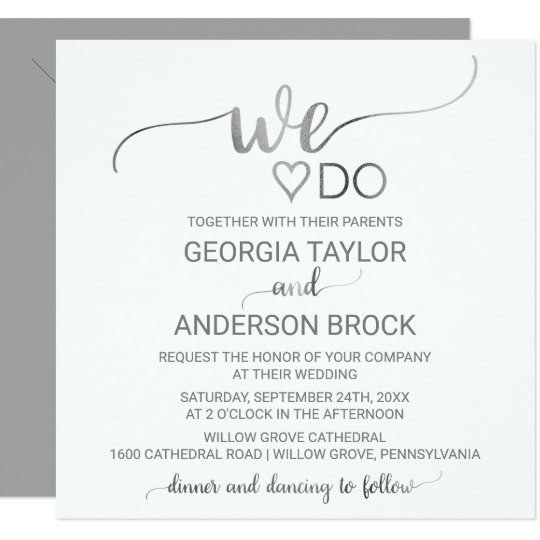 """Simple Silver Calligraphy """"We Do"""" Square Wedding Card"""