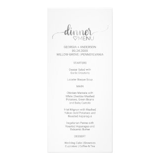 Simple Silver Calligraphy Wedding Dinner Menu Card Personalised Rack Card