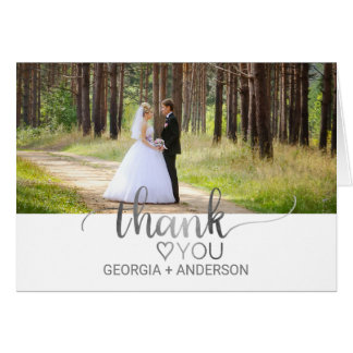 Simple Silver Calligraphy Wedding Photo Thank You Card