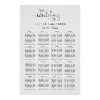 Simple Silver Calligraphy Wedding Seating Chart Poster