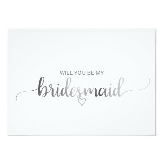 Simple Silver Foil Calligraphy Bridesmaid Proposal Card