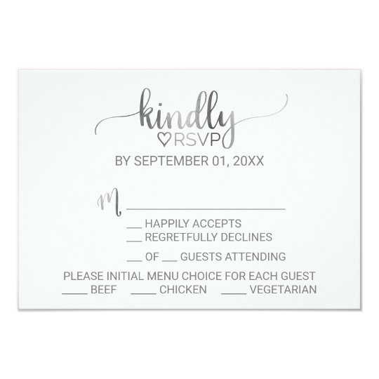 Simple Silver Foil Calligraphy Menu Choice RSVP Card