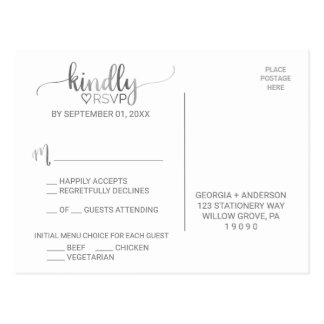 Simple Silver Foil Calligraphy Menu Choice RSVP Postcard