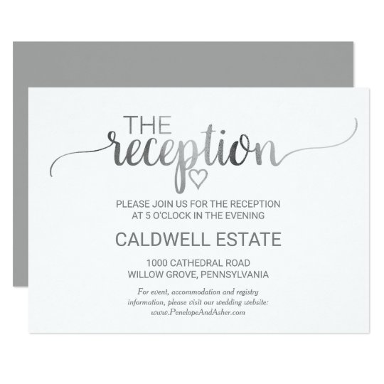 Simple Silver Foil Calligraphy Reception Insert Card
