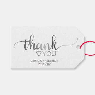 "Simple Silver Foil Calligraphy ""Thank You"" Wedding Gift Tags"