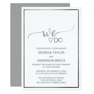 """Simple Silver Foil Calligraphy """"We Do"""" Wedding Card"""