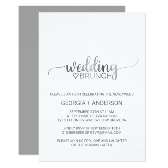 Simple Silver Foil Calligraphy Wedding Brunch Card