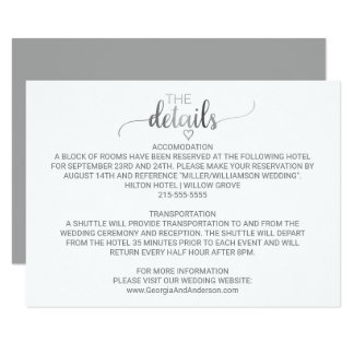 Simple Silver Foil Calligraphy Wedding Details Card