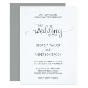 Simple wedding invitations announcements zazzle uk simple silver foil calligraphy wedding invitation stopboris Gallery