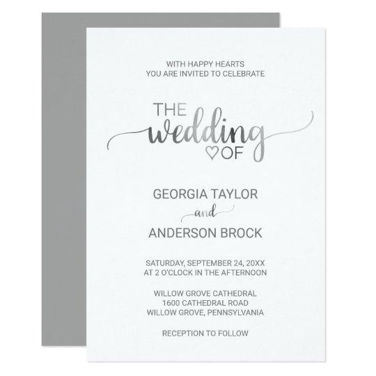 Simple Silver Foil Calligraphy Wedding Invitation Zazzle Co Uk