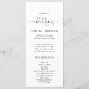 simple silver foil calligraphy wedding program programme