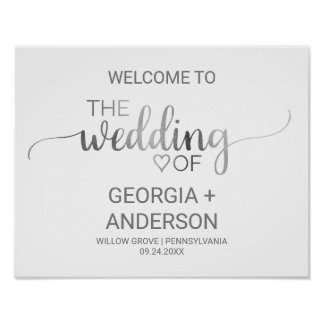 Simple Silver Foil Calligraphy Wedding Welcome Poster