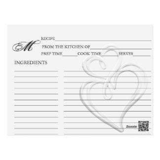 Simple Silver Swirl Hearts Recipe Cards Postcard
