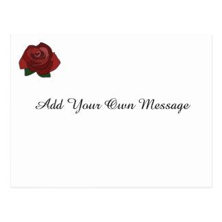 Simple Single Red Rose Custom Message Postcard