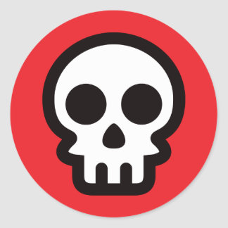 Simple skull logo on red background, round sticker