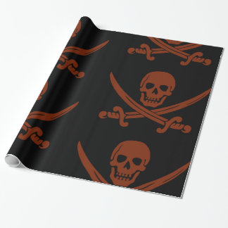 Simple Smiling Pirate Skull with Crossed Swords Wrapping Paper