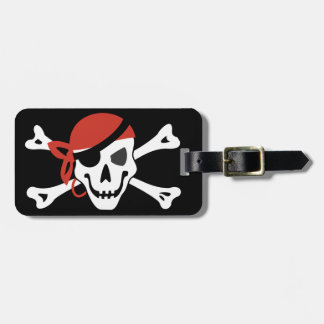 Simple Smiling Pirate Skull with Your Custom Text Luggage Tag