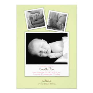 Simple Snapshots Baby Birth Announcement Green Cards