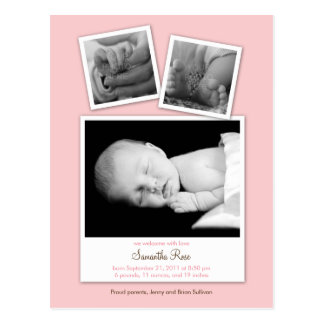 Simple Snapshots Baby Birth Announcement (Pink) Postcard