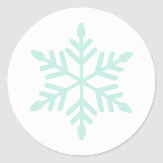 Simple Snowflake In Mint Classic Round Sticker