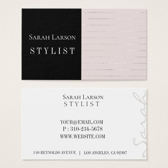 Simple Soft Blush Silver Lines Business Card