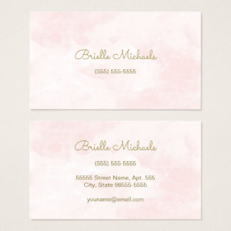 Simple Soft Pink Watercolor Gold Script Visiting Business Card