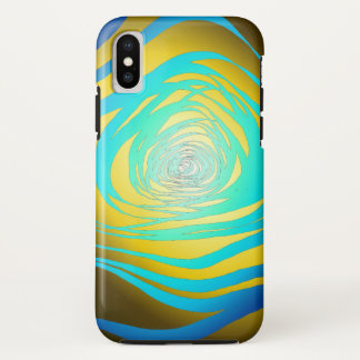 Simple Spiral Blue Yellow - Apple iPhone X Case