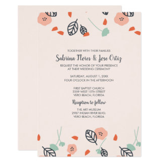 Simple Spring Floral Pink Wedding Invitations