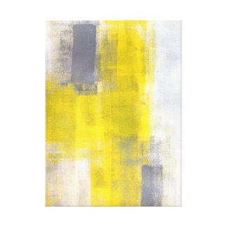 'Simple Squares' Grey and Yellow Abstract Art Canvas Print