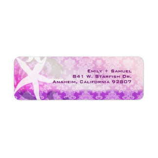 Simple Starfish Purple Beach Wedding Address Label