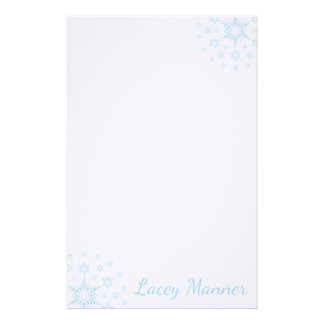 Simple Stationary Blue Icy Snowflakes Personalized Stationery