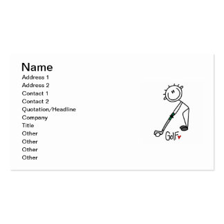 Simple Stick Figure Golfer Business Cards