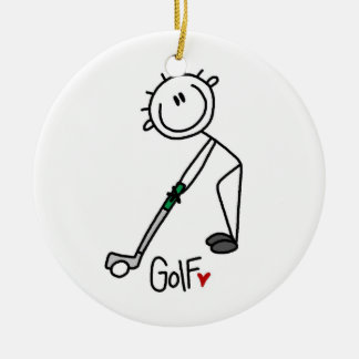Simple Stick Figure Golfer Christmas Ornament