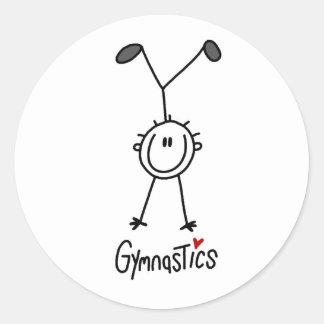 Simple Stick Figure Gymnast Classic Round Sticker
