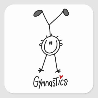 Simple Stick Figure Gymnast Square Sticker